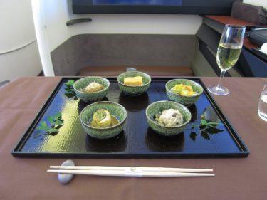 JALファーストクラス ジャカルタ線 日本料理「龍吟」監修の機内食(JALでジャカルタSUITE旅行2016 その4)