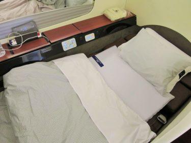 JALファーストクラス ジャカルタ線 ベッドメイクと到着前の軽食(JALでジャカルタSUITE旅行2016 その5)