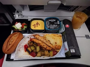 ターキッシュエアラインズ ロンドン>イスタンブール エコノミークラス機内食(イスラエル・パレスチナ旅行2019 その7)