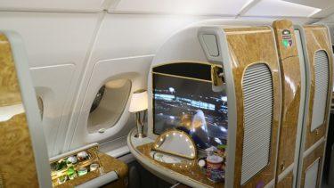 エミレーツ航空 EK318便 A380ファーストクラス 成田>ドバイ 機内設備