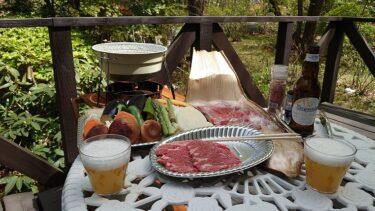 那須別宅の庭でサカエヤの牛肉バーベキュー
